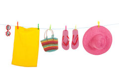 Beach laundry with towel and sunglasses Royalty Free Stock Image