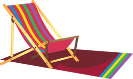 Beach Lazy Chair. Colourful beach lazy chair with a matching beach mat Stock Photography