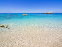Beach on Lefkada, Greece. Beautiful sandy beach on Lefkada, Greece Royalty Free Stock Photo