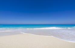 Beach on Lefkada, Greece. Beautiful sandy beach on Lefkada, Greece Stock Image