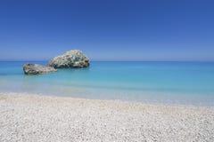 Beach on Lefkada, Greece. Beautiful sandy beach on Lefkada, Greece Stock Photo