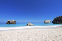 Beach on Lefkada, Greece. Beautiful sandy beach on Lefkada, Greece Royalty Free Stock Photos