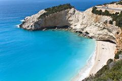 Beach at Lefkada island in Greece. Porto Katsiki beach at Lefkada island in Greece royalty free stock photography