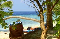 Beach leisure. On Maldives Stock Photos