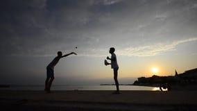 Beach leisure tennis game. stock footage