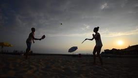 Beach leisure tennis game. stock video