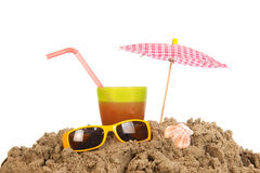Beach with lemonade and sunglasses Royalty Free Stock Photography