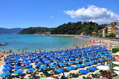 Beach in Lerici, Italy  Royalty Free Stock Photography