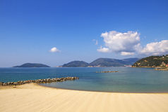 Beach in the Lerici. Royalty Free Stock Images