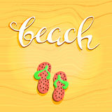 Beach letterin hand drawn and step-ins. Abstract decorative diagonal crumpled wavy striped textured background. Yellow. Colors. Vector.eps10 Royalty Free Stock Image