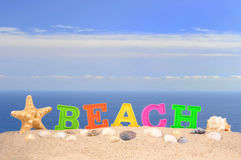 Beach letters on a beach sand Royalty Free Stock Images