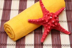 Beach life. Coast towels, a starfish in red and orange tones Stock Photos