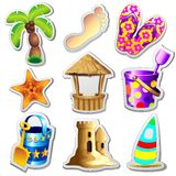 Beach Life Elements Stickers Stock Image