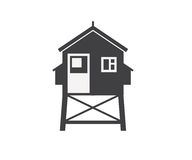 Beach Life Guard House Icon Stock Image