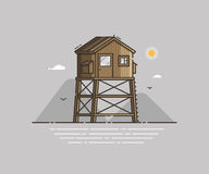 Beach Life Guard House Vector Illustration Stock Photography