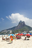 Beach life on hot sunny summer in Ipanema Rio de Janeiro Brazil portrait Royalty Free Stock Images