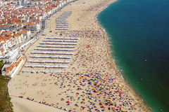 Beach life in Nazare, Portugal Royalty Free Stock Photo