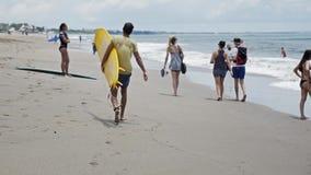 Beach Life People Walking Surfers Slowmotion stock video footage