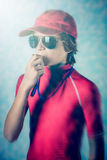 Beach lifeguard boy. With whistle Royalty Free Stock Photo
