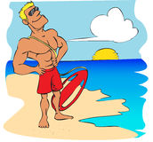 Beach lifeguard cartoon. Vector illustration of a beach lifeguard watching the blue sea Stock Photos