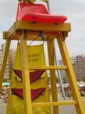 Beach lifeguard chair sky Praia Grande, Sao Paulo Brazil. Beach lifeguard chair detail sky Praia Grande, Sao Paulo Brazil royalty free stock photo
