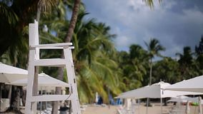 Beach lifeguard chair. At summer day stock video footage