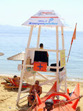 Beach Lifeguard, Greece. A beach lifeguard on duty in Skiathos, Greek Islands, Greece on the 16th June 2014 stock photography