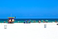 Beach with lifeguard hut in Miami Beach, Florida Royalty Free Stock Images