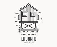 Beach Lifeguard Logo Template. Beach lifeguard logo in thin line design. Life guard house or tower logotype or label template. Baywatch hut vector linear Stock Image