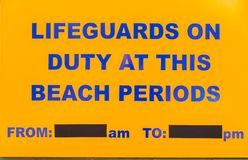 Beach Lifeguard Notice Board Royalty Free Stock Image