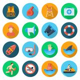Beach lifeguard set. Service qualification icons to keep people safe on water. Vector flat style cartoon illustration  on white background Royalty Free Stock Photography