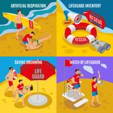 Beach Lifeguards 2x2 Design Concept Stock Photography