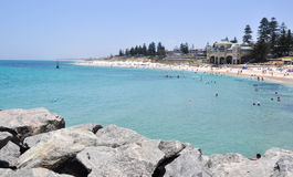 Beach Lifestyle: Cottesloe, Western Australia. COTTESLOE,WA,AUSTRALIA-JANUARY 6,2016: View from groyne at Cottesloe Beach with Indiana Tea House and families stock image