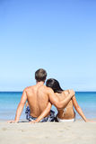Beach lifestyle couple in love on vacation royalty free stock photo