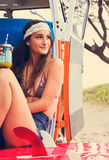 Beach Lifestyle Surfer Girl in Vintage Surf Van Stock Photography