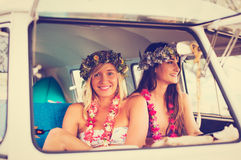 Free Beach Lifestyle Surfer Girls In Vintage Surf Van Stock Photography - 55122572