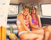 Beach Lifestyle Surfer Girls in Vintage Surf Van Royalty Free Stock Image