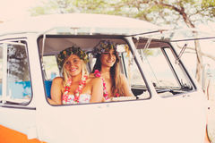 Beach Lifestyle Surfer Girls in Vintage Surf Van Royalty Free Stock Photography