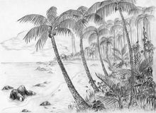 Beach with lighthouse. Sandy beach with palm trees and other tropical plants. The lighthouse is seen far away. Pencil drawing by me stock illustration