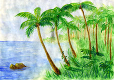 Beach with lighthouse. Sandy beach with palm trees and other tropical plants. The lighthouse is seen far away. Watercolor picture stock illustration