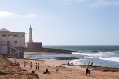 Beach and Lighthouse, Casablanca, Morocco Stock Photos