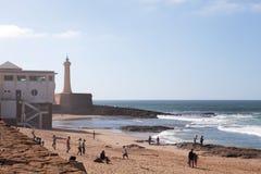 Beach and Lighthouse, Casablanca, Morocco Stock Photos