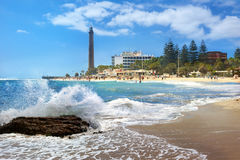 Beach and lighthouse of Maspalomas. Gran Canaria, Canary Islands Royalty Free Stock Image