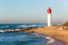 Beach Lighthouse Ocean Horizon Landscape Stock Image