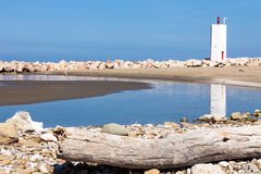 Beach With Lighthouse, Tuscany Royalty Free Stock Images