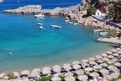 Beach of Lindos, Rhodes, Greece Stock Photo
