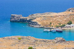 Beach in Lindos, Rhodes Royalty Free Stock Image