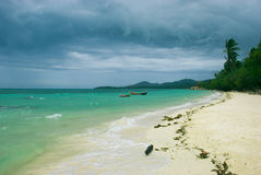 Beach line. A beautiful beach under the cloudy sky Stock Photo
