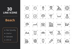 30 Beach Line Icons. High quality beach line icons. Icons for user interfaces and web Royalty Free Stock Photography
