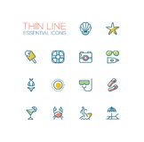 At the Beach - line icons set Stock Image